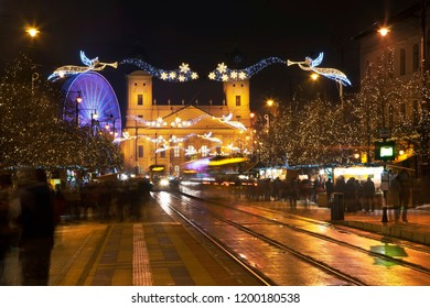 Holiday decorations of Kossuth square in Debrecen. Hungary