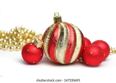 holiday decorations on white background
