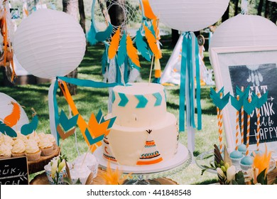 Holiday design for children's holiday in bo ho style a magical children's birthday party. lemonade,candy, culinary products, dream catchers, Chinese white balls of paper, pretty ribbons and stones