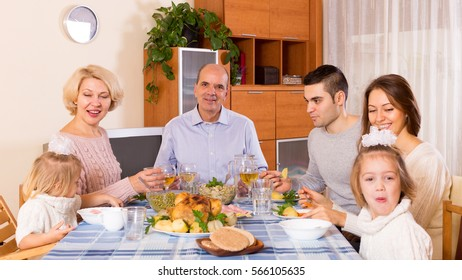 Holiday dinner in the bosom of family indoor