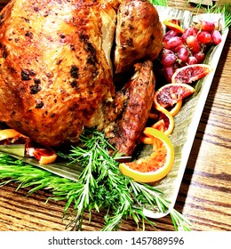 A holiday feast with a roasted turkey