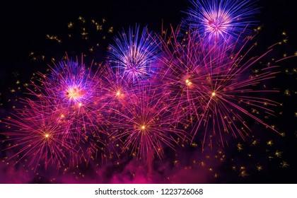 Holiday firework in night sky