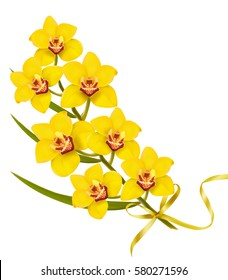 Holiday flowers background with yellow orchids and gold ribbon.
