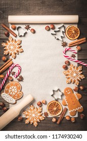 Holiday food background for baking gingerbread cookies. Vintage paper sheet for christmas recipe. Text space, top view.