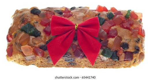 Holiday Fruit Cake Gift with a Bow Isolated on White with a Clipping Path.