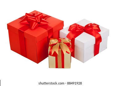 Holiday gift box background with red ribbon bow, isolated on white background