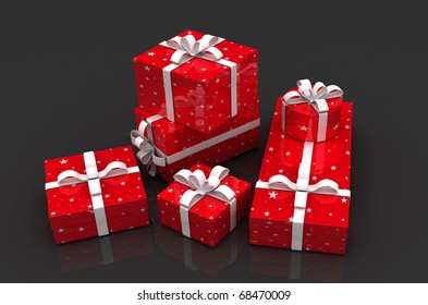 Holiday Gift Boxes on dark background
