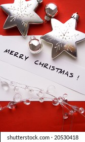 holiday greetings. Christmas cards and paper with decorations and copy space