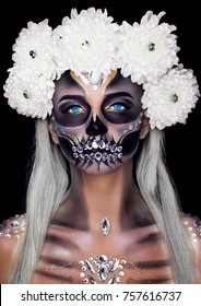 Holiday Halloween. Make-up for the holiday of Halloween in the form of the White Walkers.