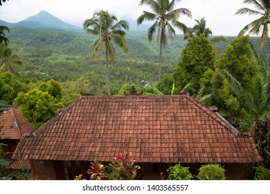 holiday home with tile roof in front of panoramic vulcano landscape, rain forest, mountain valley and palmtrees