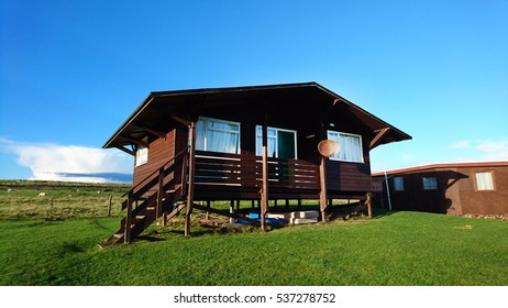 Holiday House on Countryside, Wooden House, Cottage, Bungalow on Green Field, Scottish Highlands, Scotland, United Kingdom