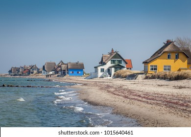 Holiday houses at the coast of Heiligenhafen, Schleswig-Holstein, Germany