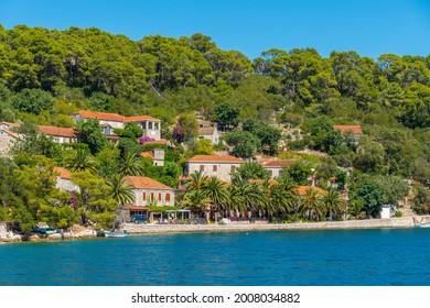 Holiday houses at Veliko Jezero in Mljet national park in Croatia - Shutterstock ID 2008034882