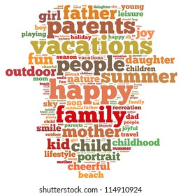 holiday info-text graphics and arrangement concept on white background (word cloud)