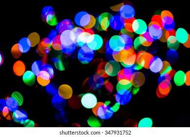 Holiday lights blurred