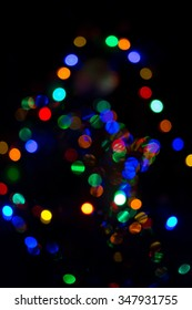 Holiday lights blurred