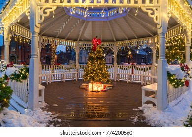 holiday lights and decorations in an urban setting