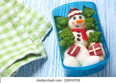 Holiday lunch box with snowman for kids