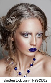 Holiday Makeup and Manicure Winter Queen with Snow and Ice Hairstyle