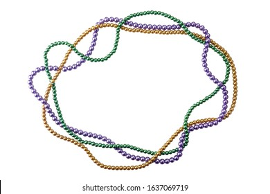 holiday or mardi gras beads making frame isolated on white background