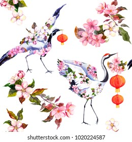 Holiday new year red chinese lantern in spring flowers and dancing crane birds. Seamless pattern. Watercolor