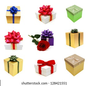 Holiday packing boxes on gifts
