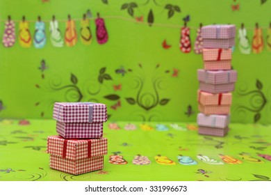 Holiday packing boxes on gifts Isolated on a white background