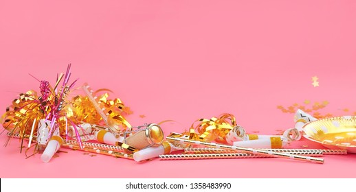 holiday party on pink background. trendy festive pink and gold decorations, paper fashion tableware. birthday party, celebration concept.