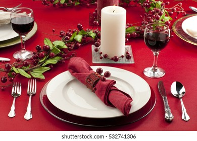 Holiday place setting background