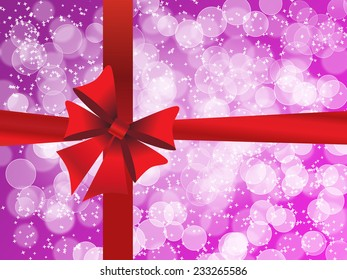 Holiday purple background with gift red bow and white bokeh