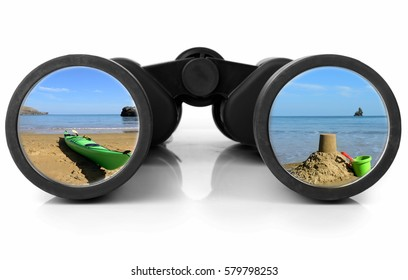 Holiday scene reflected in a pair of binoculars