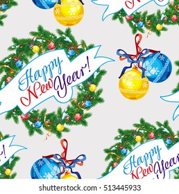 """Holiday seamless pattern with Christmas wreath and artistic written text:""""Happy New Year!"""". Raster clip art."""