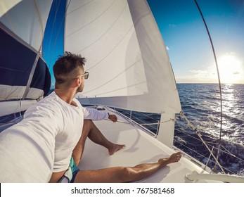 Holiday selfie on Sailing yacht catamaran in the sea. Sailboat. Sailing in caribbean sea