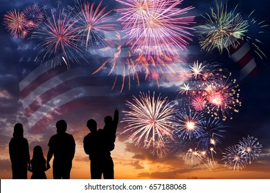 Holiday sky with fireworks and flag of America, independence day