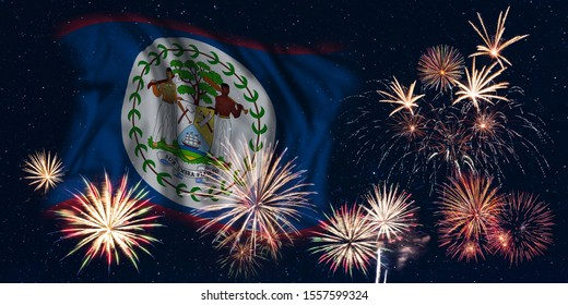 Holiday sky with fireworks and flag of Belize, independence day of country