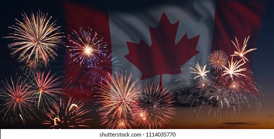 Holiday sky with fireworks and flag of Canada, independence day