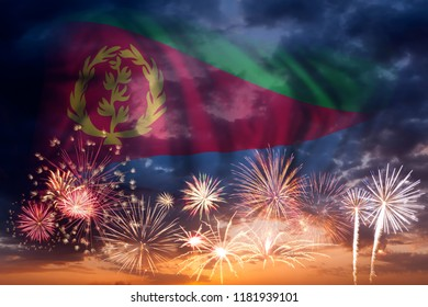Bright eritrea images stock photos vectors shutterstock holiday sky with fireworks and flag of eritrea independence day m4hsunfo