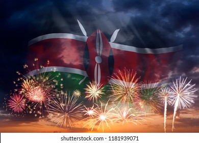 Holiday sky with fireworks and flag of Kenya, independence day