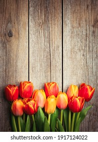 Holiday spring background. Colorful tulip flowers on wooden backdrop. Greeting card with copy space for Valentine's Day, Woman's Day and Mother's Day.