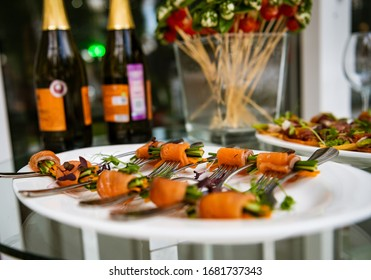 Holiday table decor with snacks