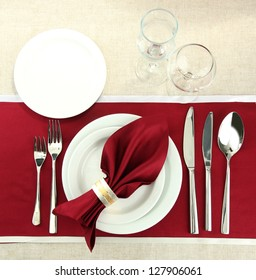 holiday table setting, close up