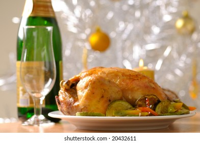Holiday turkey served with vegetables