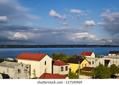 a holiday village at the Dnieper river bank near to Kherson (Ukraine) on autumn day