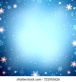 holiday winter blue background decorated with snowflakes and lights - Christmas blue background empty