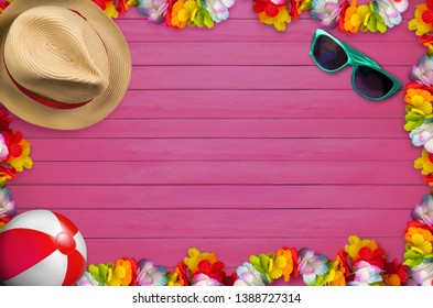 Holidays background with shells and attributes of summer