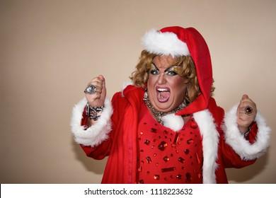 Holidays. Cheerful woman and christmas.