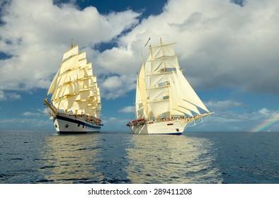 Holidays. Cruise on a sailing ship