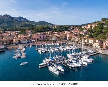 Holidays in Italy, Isle of Elba. Village and little port of Porto Azzurro.