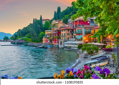 holidays in Italy - a view of the most   beautiful lake in Italy, Varenna, Lombardy, Lago di Como. Evening time.