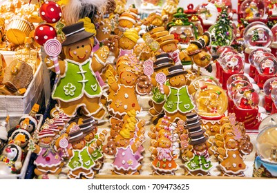 Holidays shopping. Gingerbread men at Christmas market in Strasbourg, Alsace, France.